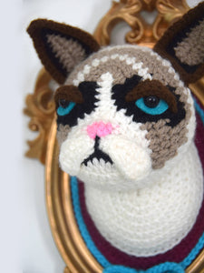 Crochet Cat Head in a Golden Frame with Removable Christmas Hat, inspired by Grumpy cat