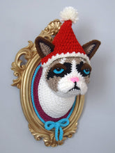 Load image into Gallery viewer, Crochet Cat Head in a Golden Frame with Removable Christmas Hat, inspired by Grumpy cat