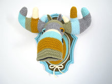 Load image into Gallery viewer, Color Block Crochet Moose Head in a Light Blue Frame