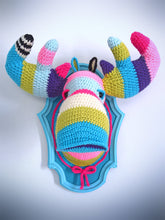 Load image into Gallery viewer, Crochet Color Block Moose Head in a Light Blue Frame