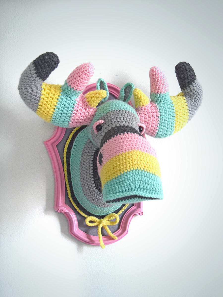 Crochet Color Block Moose Head in pastel colors and greys in a Pink Frame