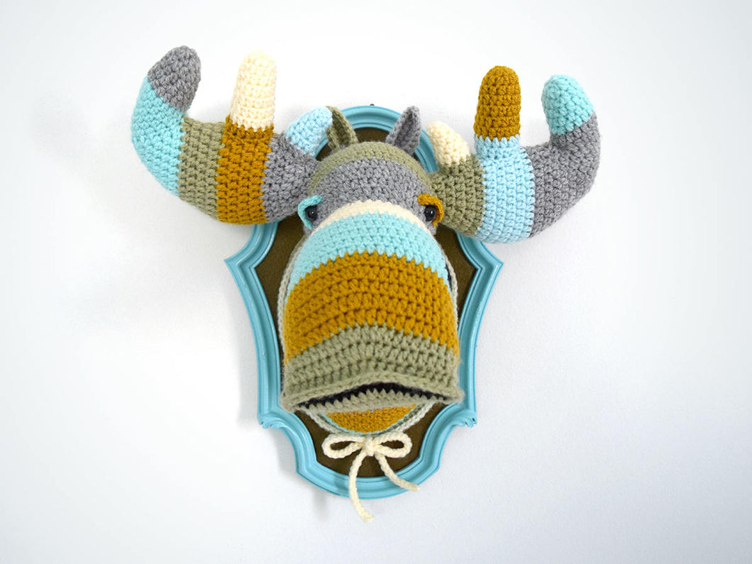 Color Block Crochet Moose Head in a Light Blue Frame