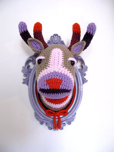 Crochet color block deer head in a light purple frame.