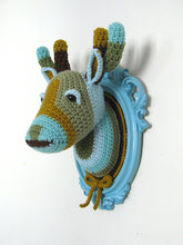 Load image into Gallery viewer, Crochet deer head in a light blue frame.