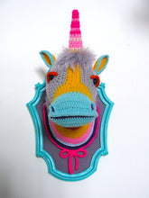 Crochet Color block Unicorn head in a turquoise frame