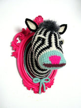Load image into Gallery viewer, Crochet zebra head in a hot pink frame.