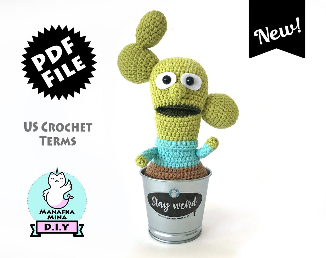 Crochet PATTERN - KISHKASHTA (Cactus guy) in a metal pot