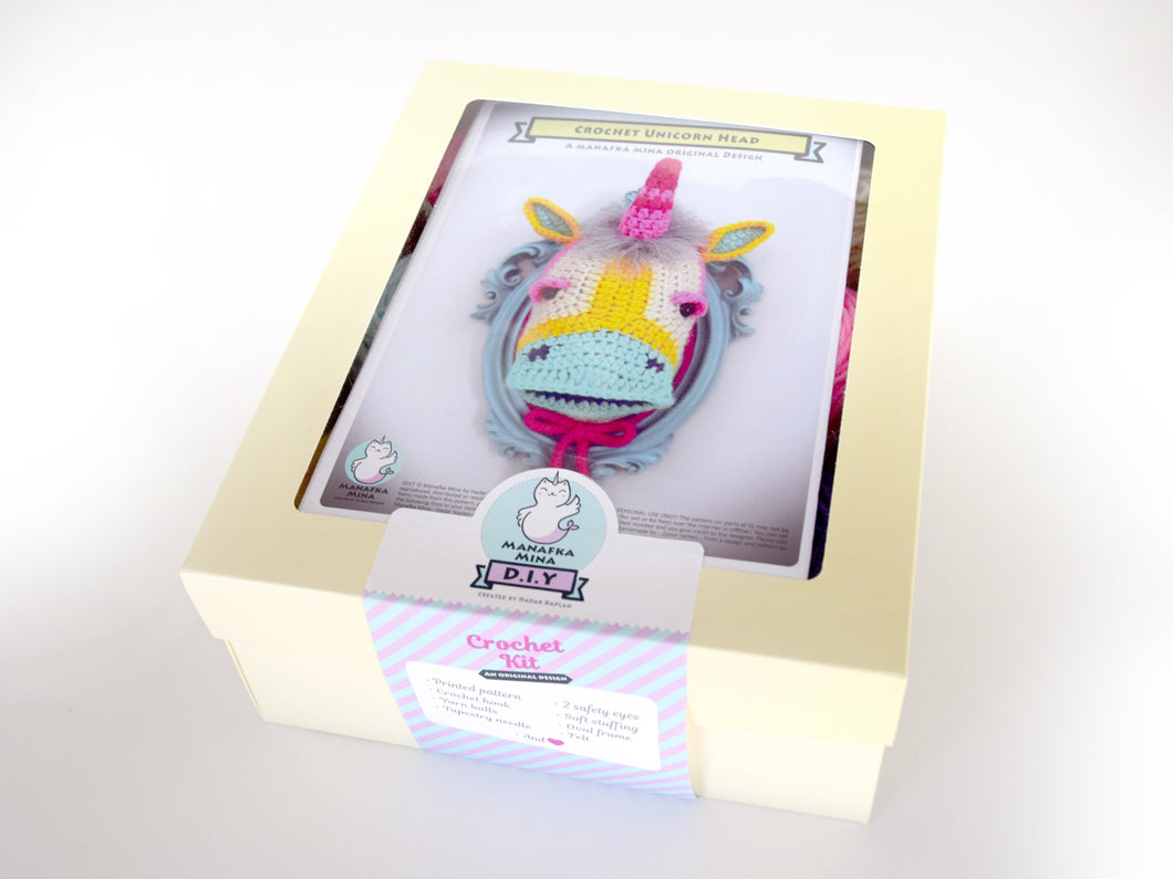 DIY Crochet Kit: Faux Taxidermy Unicorn Head