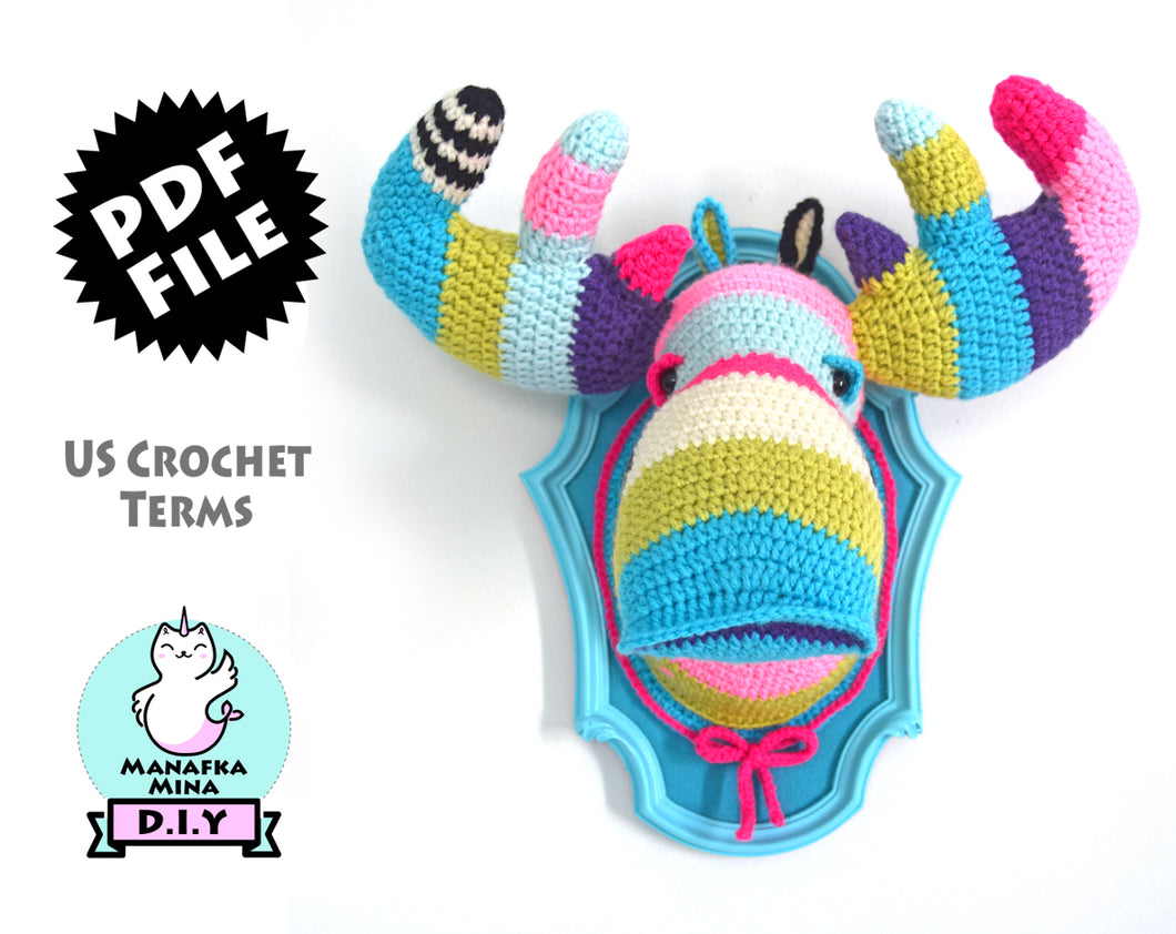 Crochet Pattern: Faux Taxidermy Moose Head