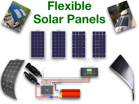 Flexible solar panels for, Caravan, Camping, Boats, Off-road