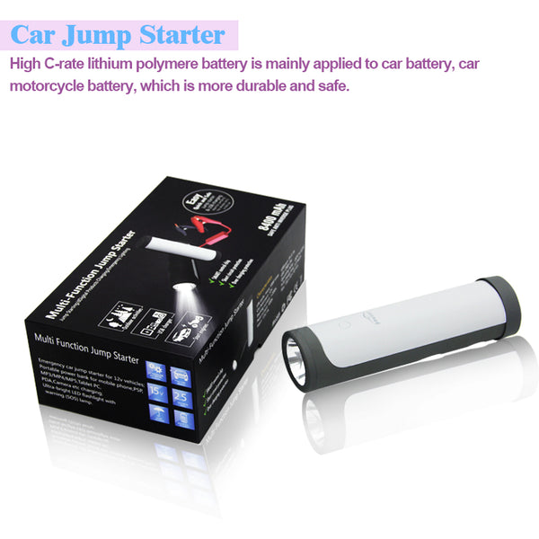 HK-Q6  -  8400mAh - Portable Car Jump Starter suitable for for petrol & diesel engine 12V vehicles. Comes with builtin outdoor LED lighting & SOS flashing signal.