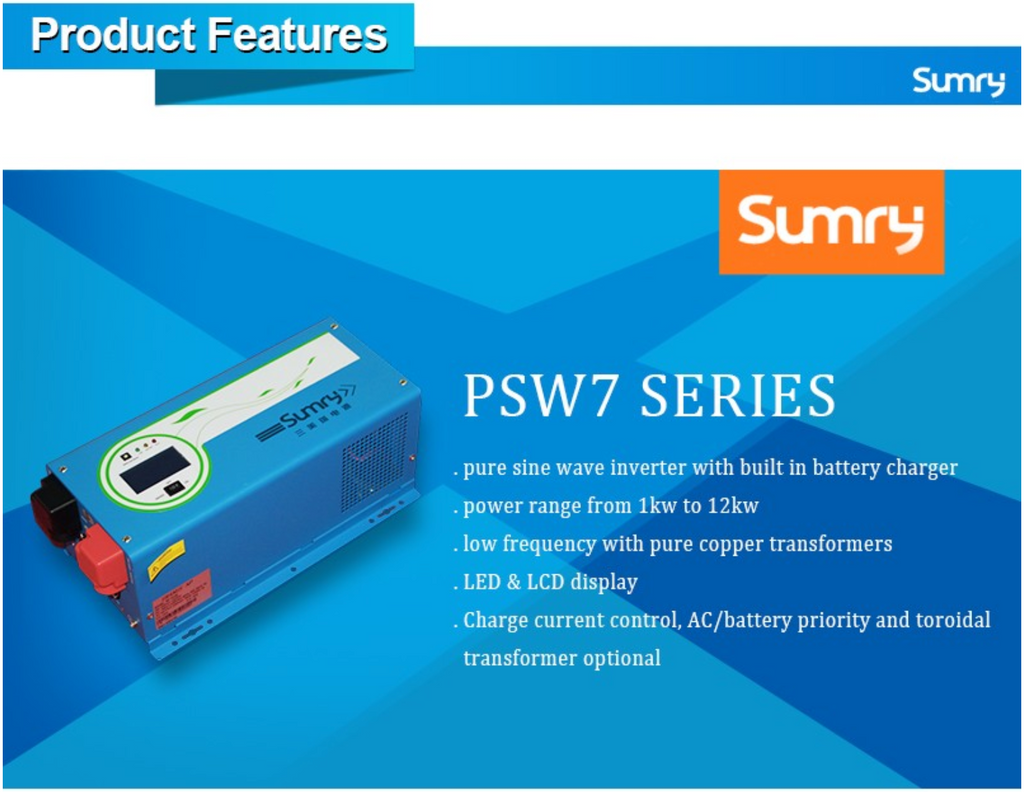Sunray Power  Big Power Inverter  PSW7 Series 1kW to 6kW 12/24/48v Dc to 240v Ac