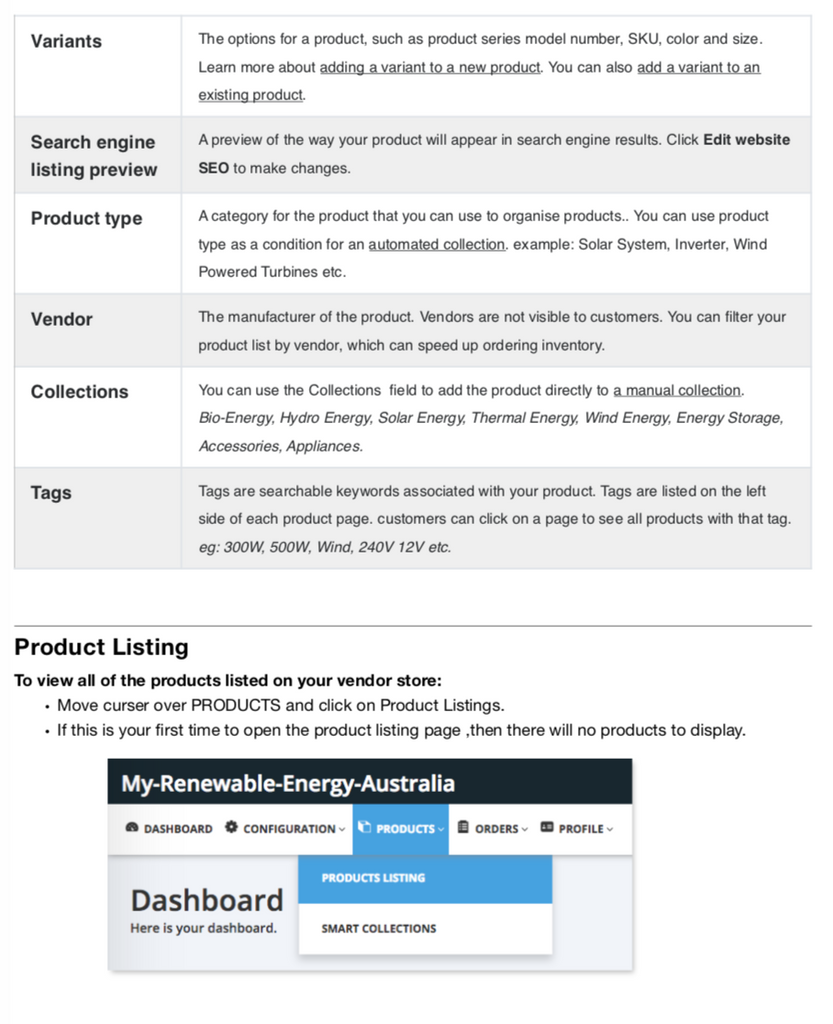 My Renewable Energy Australia - Products and Variants