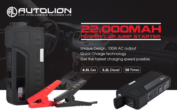 AL-JP32-Quick Charge 3.0 fast charger portable car jump starter power bank 1000A 22000mah AC power bank