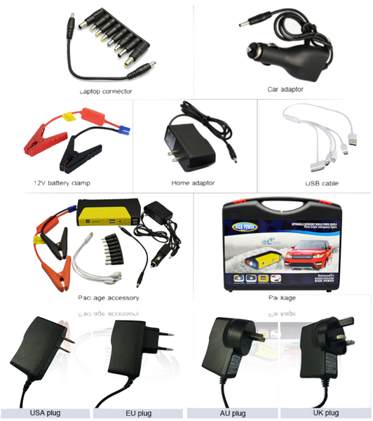 AL-JP08 - 16800mah  12V - 4.5 Petrol and 3.0 diesel portable multi-functional  emergency jump start, Output: 5V/2.1A;  19V/16V/12V Delivered Door to Door Tide if looking for cables to jumpstart your car, No other vehicles around to connect your cables to! Well now you do not have worry about none of that. Just open the clove compartment and take out your very own Jump Starter.  What are you waiting for; purchase now before you go anywhere.  Warranty 18 months. Bulk orders are excepted at a much lower price