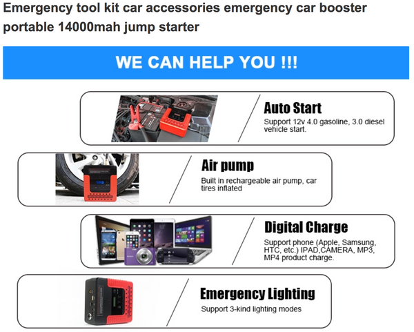 Autoline AL-JP13A - 14,000mAh Jump Starter and Air Compressor all in one emergency Jump Starter, Power Bank