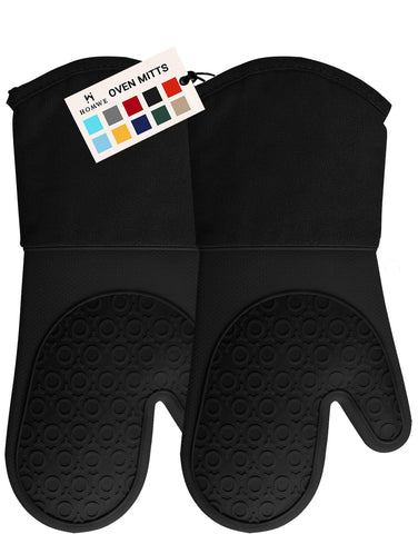 Homwe Professional Silicone Oven Mitt - 1 Pair - Extra Long Oven Mitts with Quilted Liner for Extra Protection - Black