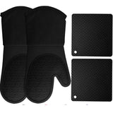 HOMWE Silicone Oven Mitts and Pot Holders, 4-Piece Set