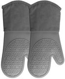 Homwe Kitchen Silicone Oven Mitts with Quilted Cotton Lining Gray