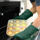 Homwe Kitchen Silicone Oven Mitts - Green - 13.7 inch