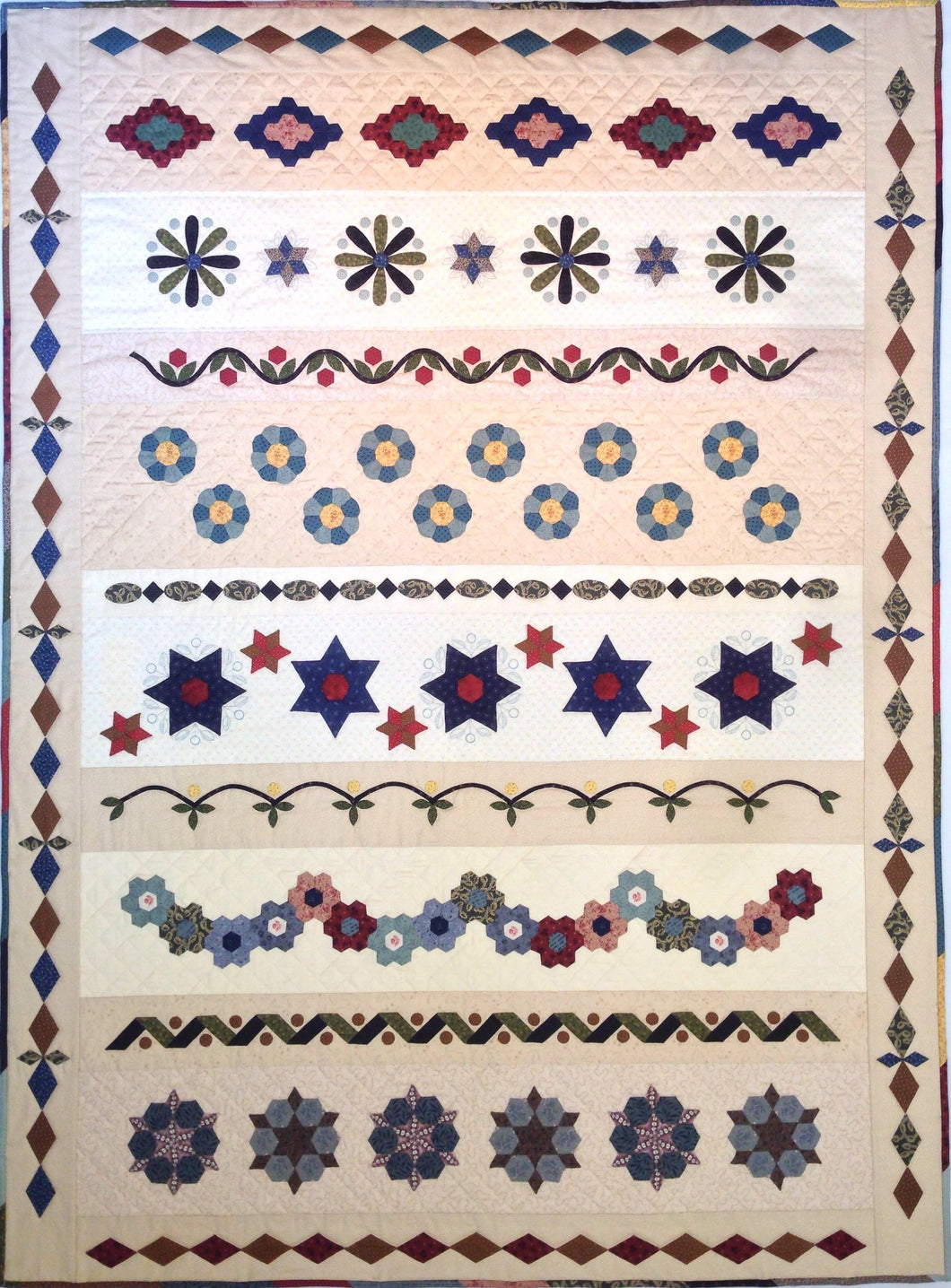 Village English Paper Pieced Sampler - Block of the Month