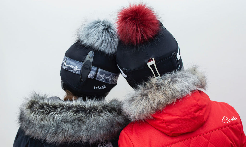 trixski Ski Helmet Cover with Faux Fur Pom Pom