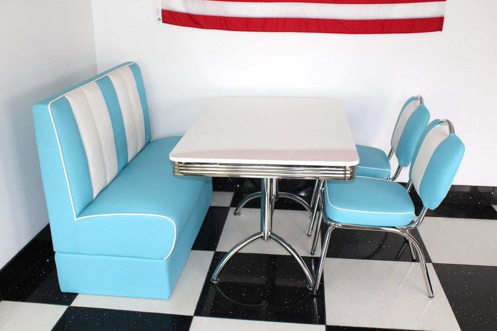 American Booth and Two Chair Set Blue With High Gloss White Booth Table
