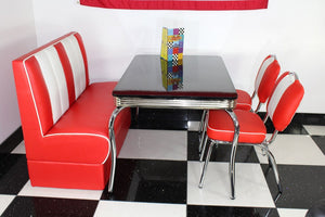 American Booth and Two Chair Set Red With High Gloss Black Booth Table