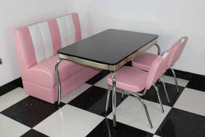 American Booth and Two Chair Set Pink With High Gloss Black Table