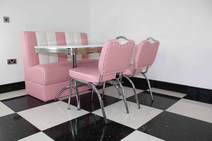 American Booth and Two Chair Set Pink With High Gloss White Booth Table