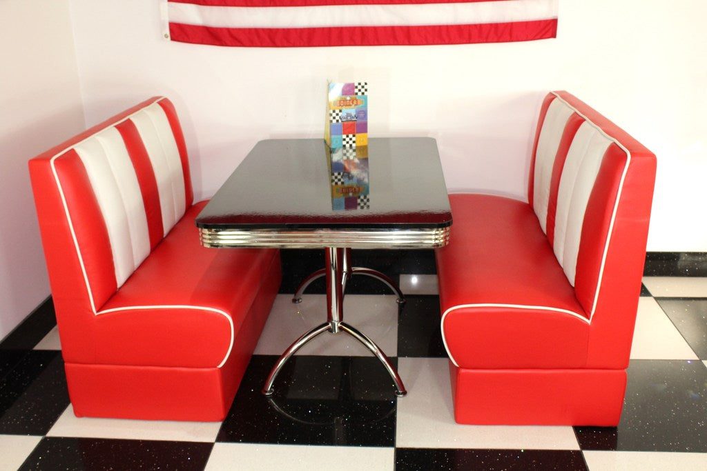 Ed's American Retro Double Booth Diner Set in Red and White