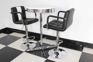 Claw Base Black & White Bistro Set