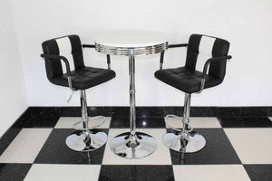 Round Base Black & White Bistro Set