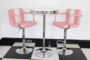 Bistro Set Pink and White – Round Base