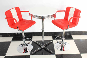 Bistro Set Red and White – Claw Base
