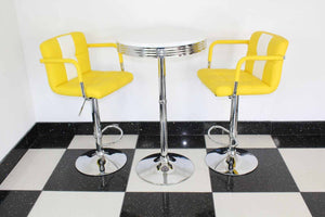 Bistro Set Yellow and White – Round Base