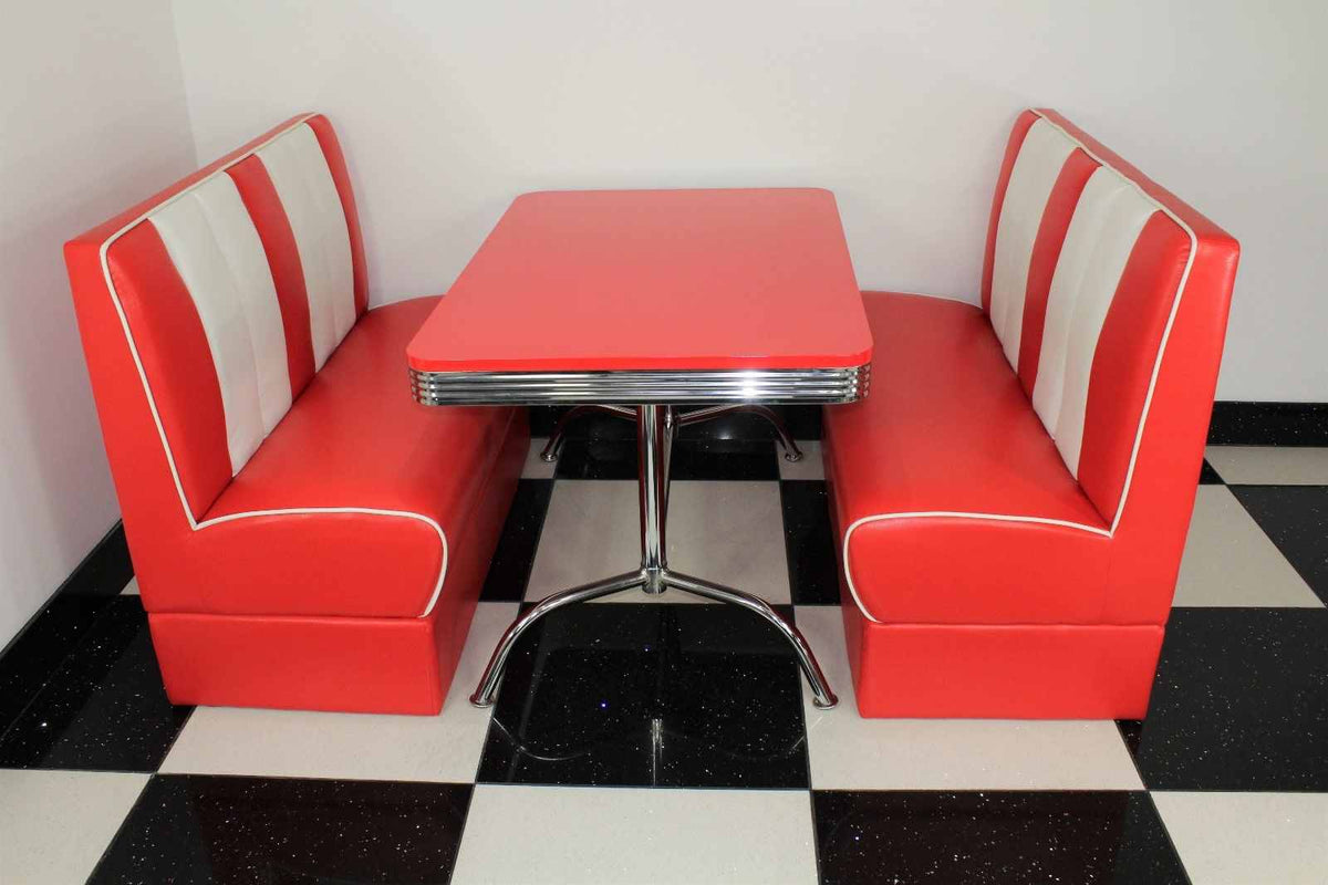 Strange Red Double Booths With Red Gloss Table Creativecarmelina Interior Chair Design Creativecarmelinacom