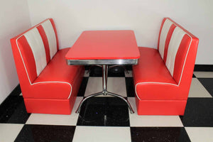 Downtown American Retro Booth Diner Set Red With Red Table