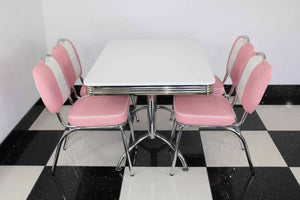 Retro Booth Table With Four Chairs Pink