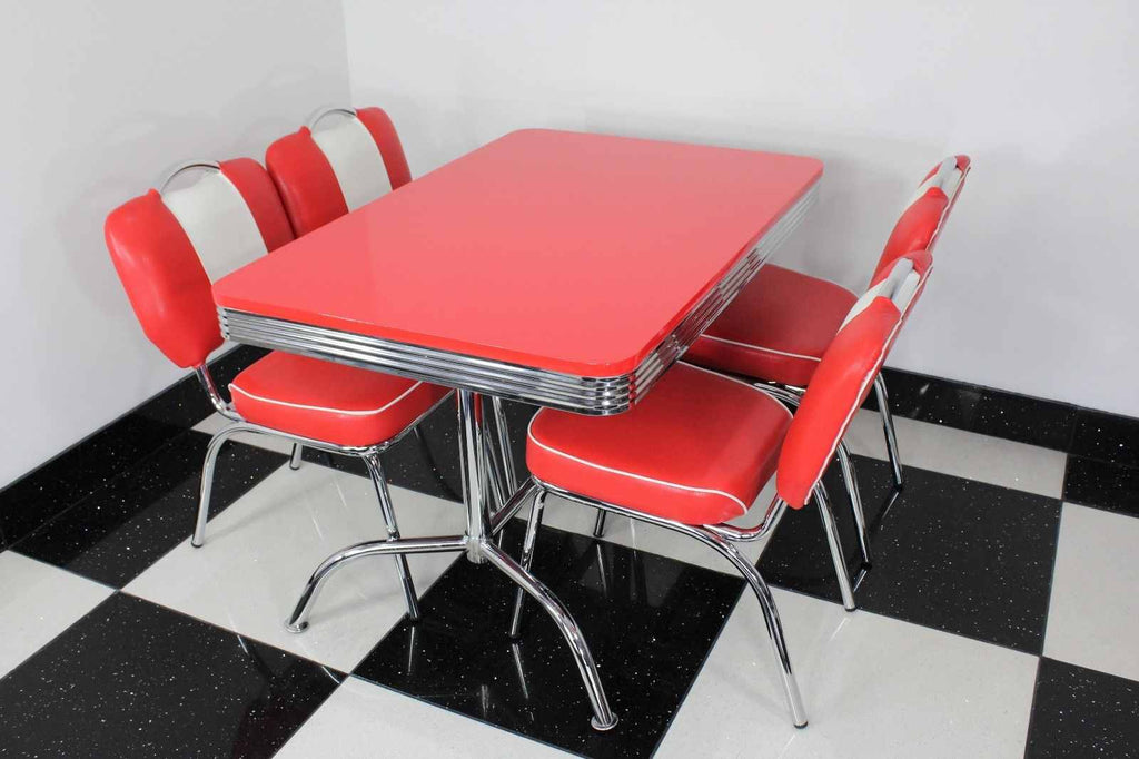 Retro Red Booth Table With Four Chairs Red