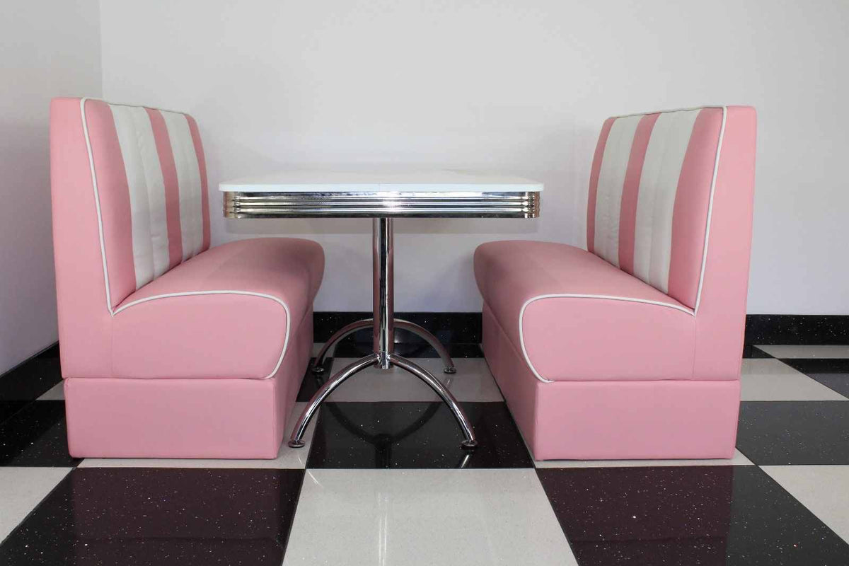 Pink Double Booths With White Gloss Table Just Americana