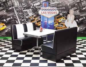 Ronnie American Retro Booth Diner Set in Black