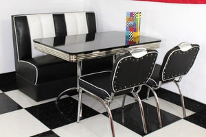 American Booth and Two Chair Set Black With High Gloss Black Booth Table
