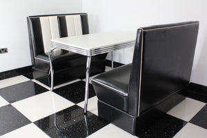 Commercially Graded Black Booths With White Four Legged Table