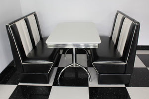 Commercially Graded Black Booths With White Table