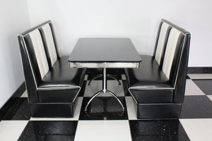 Commercially Graded Black Booths With Black Table