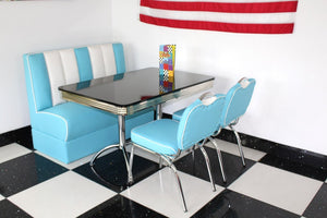 American Booth and Two Chair Set Blue & White With High Gloss Black Booth Table