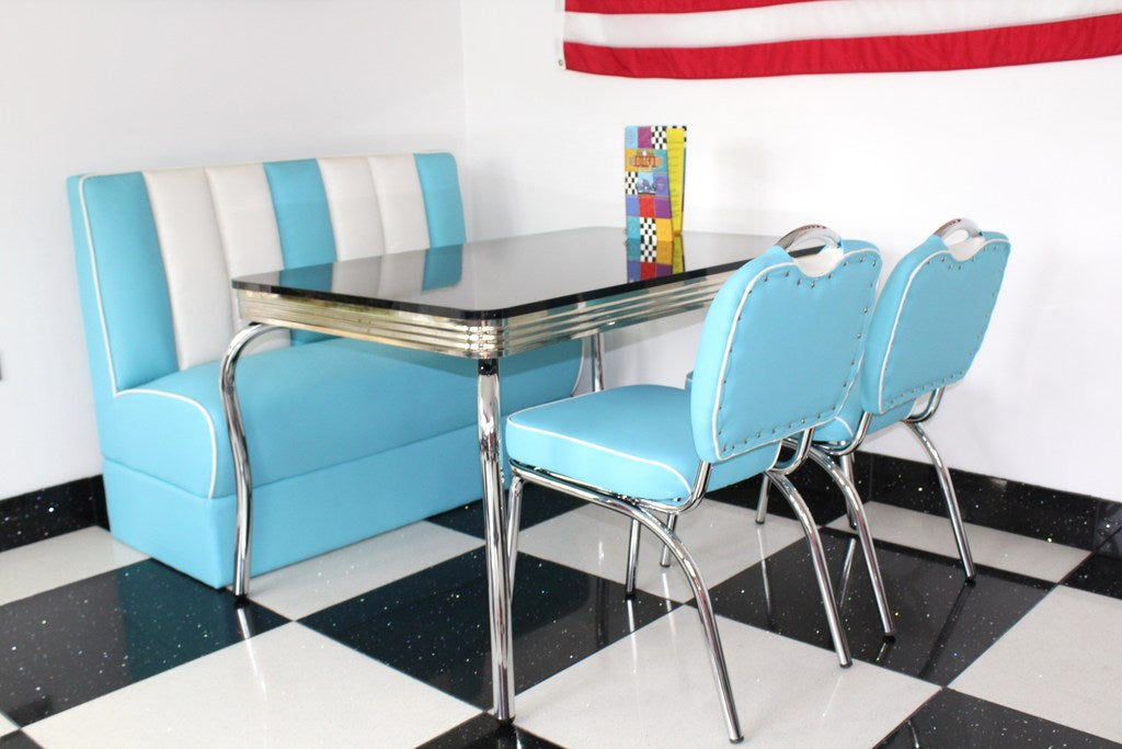 American Booth and Two Chair Set Blue With High Gloss Black Booth Table