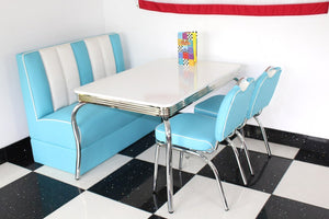 American Booth and Two Chair Set Blue & White With High Gloss White Booth Table