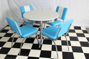 Budget Round Table Blue Diner Set